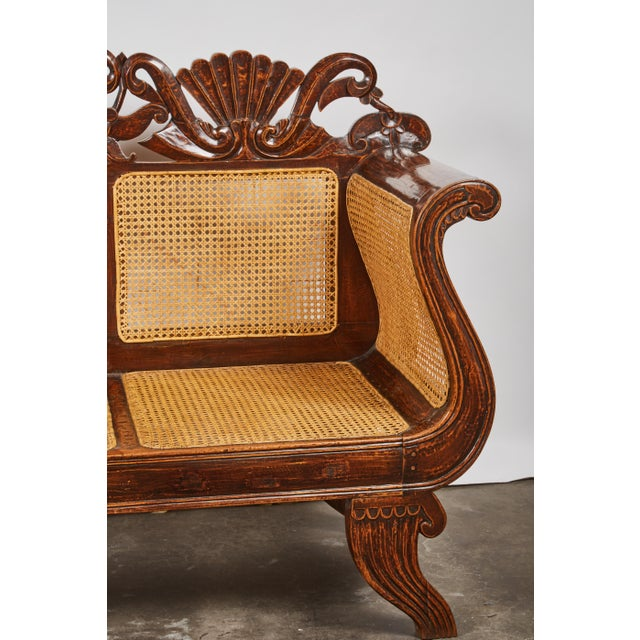 Indonesian Mahogany Settee with Carved Rattan/Wicker Back and Seat - Image 5 of 9