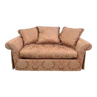 Swaim Furniture Pink Silk Damask Living Room Overstuffed Down Loveseat For Sale