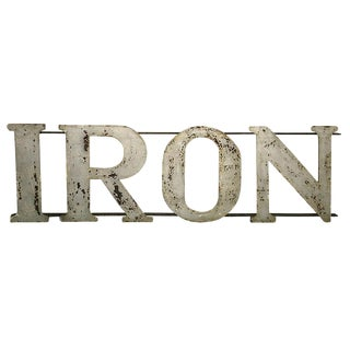 "Sign - Vintage Industrial ""Iron"" Letters Sign For Sale"