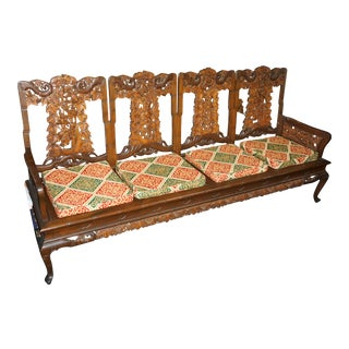 20th Century East Asian Carved Mahogany Wooden Bench For Sale