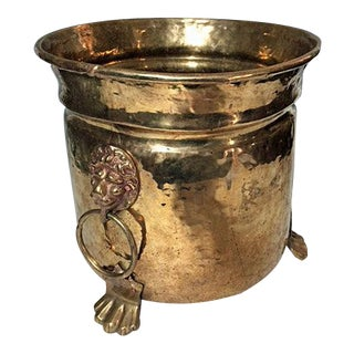 Vintage Hammered Brass Footed Lion's Head Planter