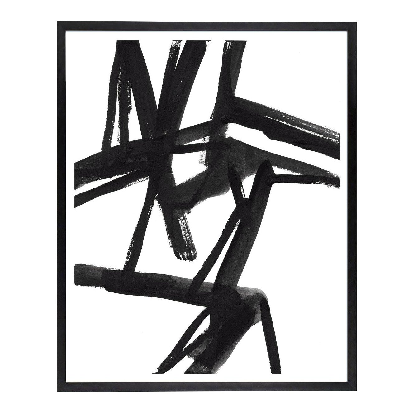 Large Black And White Abstract Modern Art Shadows 2 Unframed Giclee Print