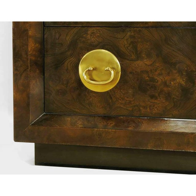Mastercraft Burl and Acid Etched Brass Wardrobe Cabinet For Sale In Chicago - Image 6 of 9
