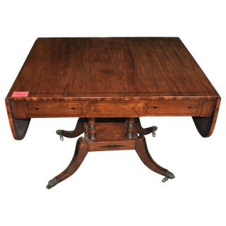 19th Century English Mahogany Drop Leaf Sofa Table For Sale