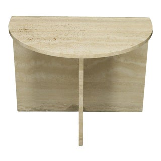 Demilune Travertine Half Round Console Table For Sale