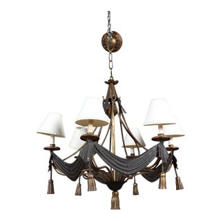 Gilt Decorated Wrought Iron and Tole Chandelier For Sale