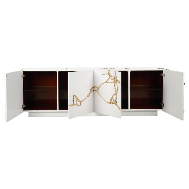 2010s Akar 4-Door Credenza in White Lacquered Resin & Lava Brass by Sylvan Sf For Sale - Image 5 of 6