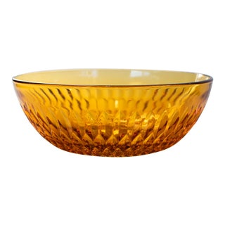 Mid 20th Century Faceted Amber Glass Serving Bowl For Sale