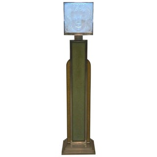 "Signed Lalique French Art Glass ""Masque De Femme"" Plaque Standing Lamp For Sale"