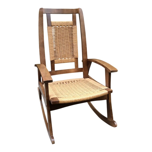 Mid-Century Modern Hans Wegner Style Woven Rope Rocking Chair For Sale