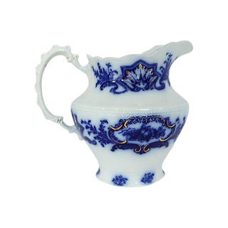 Antique Flow Blue Alaska Pattern Jug