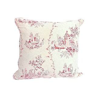 Vintage Brunschwig & Fils Countryside Toile Pillow For Sale
