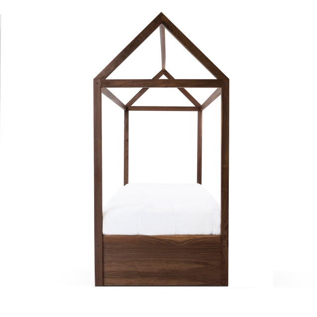 Not Yet Made - Made To Order Domo Zen Twin Canopy Bed in Walnut With Pink Finish Drawers For Sale - Image 5 of 6