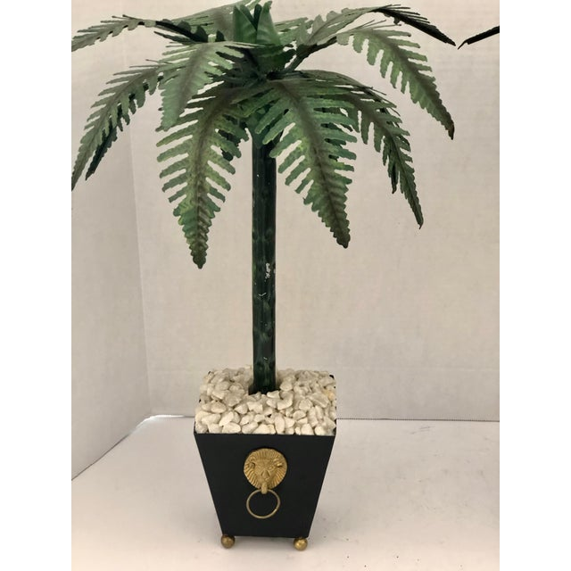 1970s Hollywood Regency Tall Tole Painted Palm Tree Candlesticks Holders in Planters, A-Pair For Sale - Image 5 of 12