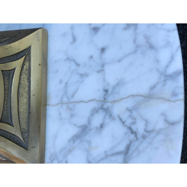 Gold Mid Century Glass Top Marble Base Hollywood Regency Italianate End Tables - a Pair For Sale - Image 8 of 10