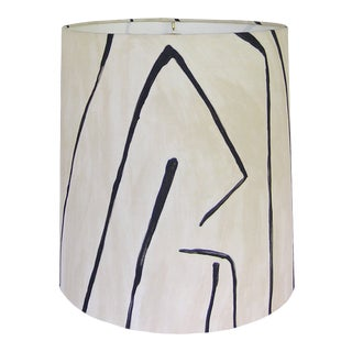 Groundworks Graffito in Linen/Onyx Drum Shade 14x11 For Sale