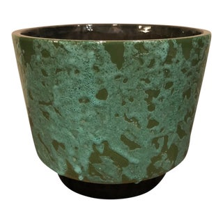 Mid-Century Modern Green Pottery Drip Planter For Sale