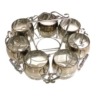 Circa 1960 Mid-Century Dorthy Thorpe Style Silver Fade Roly Poly Glasses (7) With Carrier - 8 Pieces For Sale