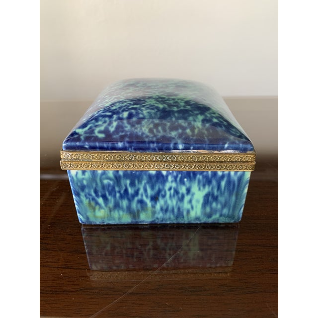 Chinoiserie Vintage Blue Fine China Box With Gold Trim For Sale - Image 3 of 12