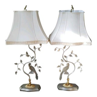 Vintage Maison Bagues Style Crystal Parrot Lamps With Shades - a Pair For Sale