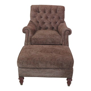 TRS Paisley Print Tufted Chair & Ottoman - 2 Pieces For Sale