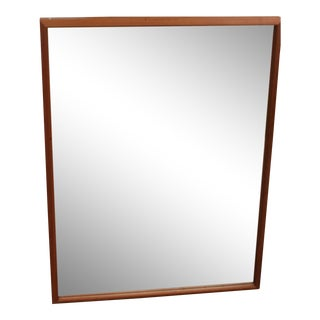 Mid Century Modern Teak Rectangle Mirror Shadow Box For Sale