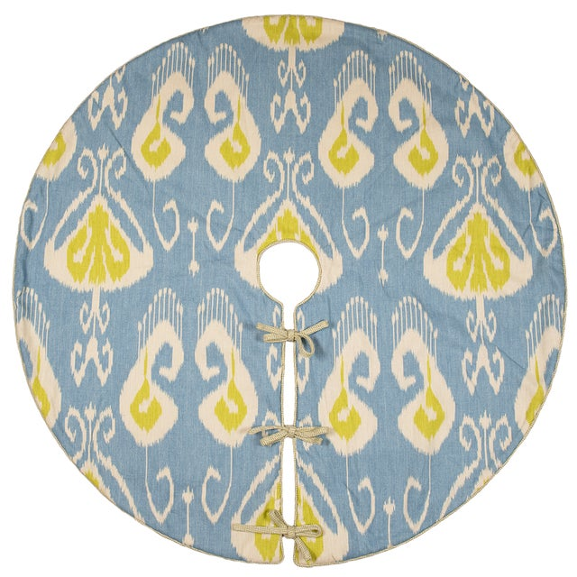 Blue Contemporary Blue and Green Ikat Tree Skirt For Sale - Image 8 of 8