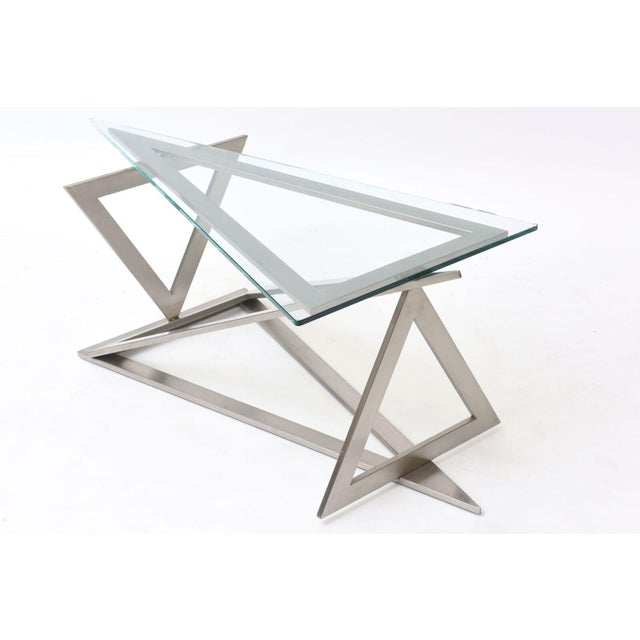 Italian Italian Modern Stainless Steel and Glass Table Attributed to Giovanni Offredi For Sale - Image 3 of 10