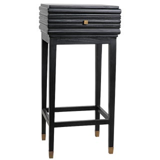 Kitame Side Table With Drawer, Charcoal Black For Sale