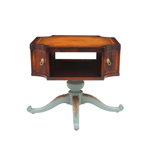 Revolving Mahogany Leather Top Bibliotheque - Image 2 of 7