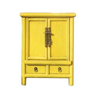 Chinese Rustic Light Yellow End Table Nightstand