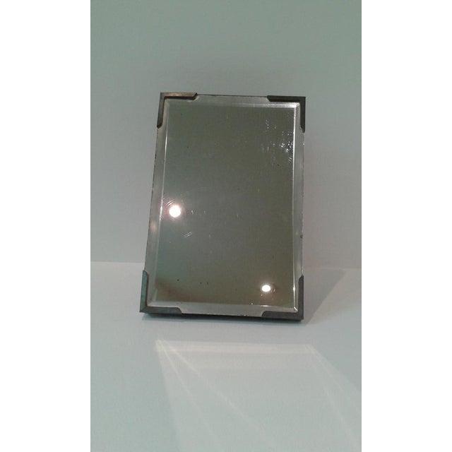 Vintage Beveled Glass Travel Shaving Mirror For Sale - Image 10 of 10