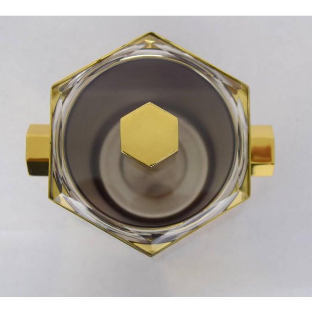 Charles Hollis Jones Brass and Lucite Hexagonal Ice Bucket by Charles Hollis Jones For Sale - Image 4 of 10