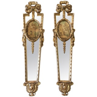 Pair of Glamorous Italian Silvergilt and Mirrored Panel Sconces For Sale