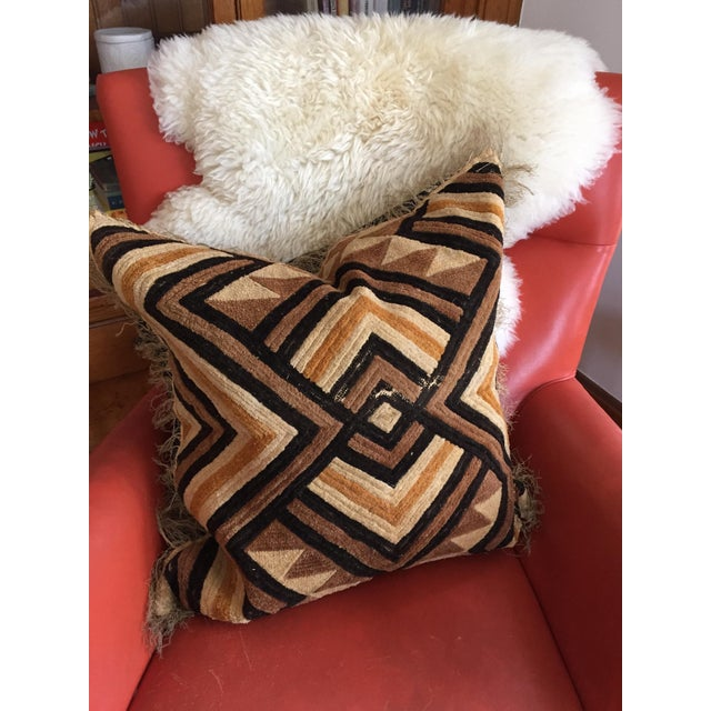 """Well-Traveled"" Kuba Cloth Pillow with Velvet Back For Sale - Image 4 of 5"