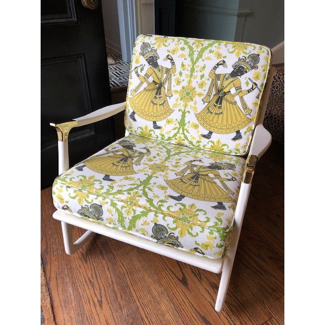 "Metal Lacquered Christopher Farr's ""Dancer"" Fabric Rocking Chair For Sale - Image 7 of 7"