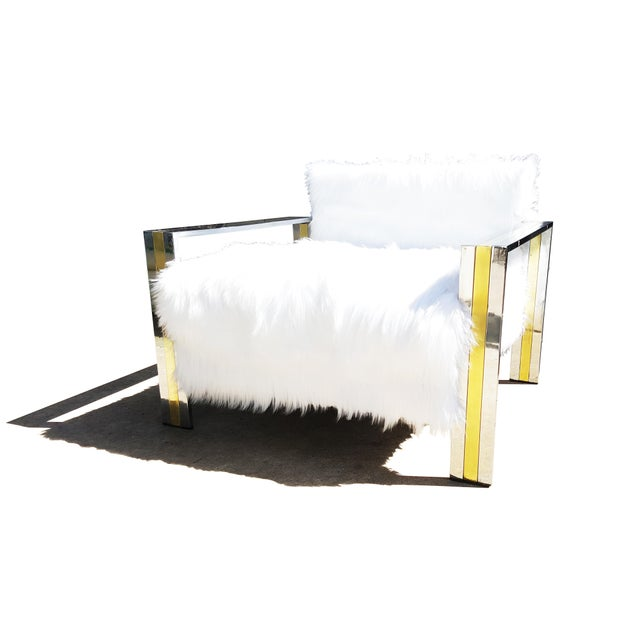 Animal Skin Brass & Chrome Faux Sheepskin Armchair For Sale - Image 7 of 8
