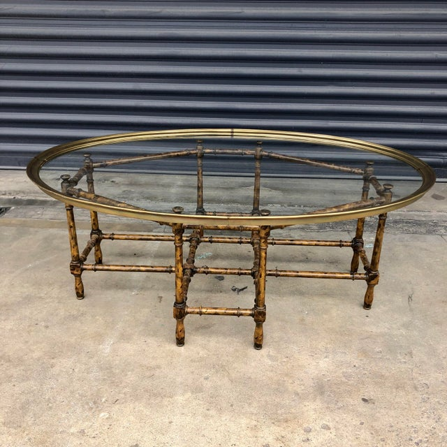 Vintage Faux Bamboo Brass Tray Top Coffee Table For Sale - Image 4 of 13