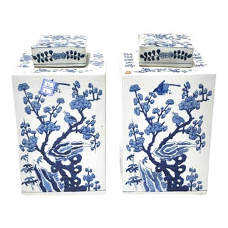 Pair of Blue & White Chinoiserie Jars For Sale