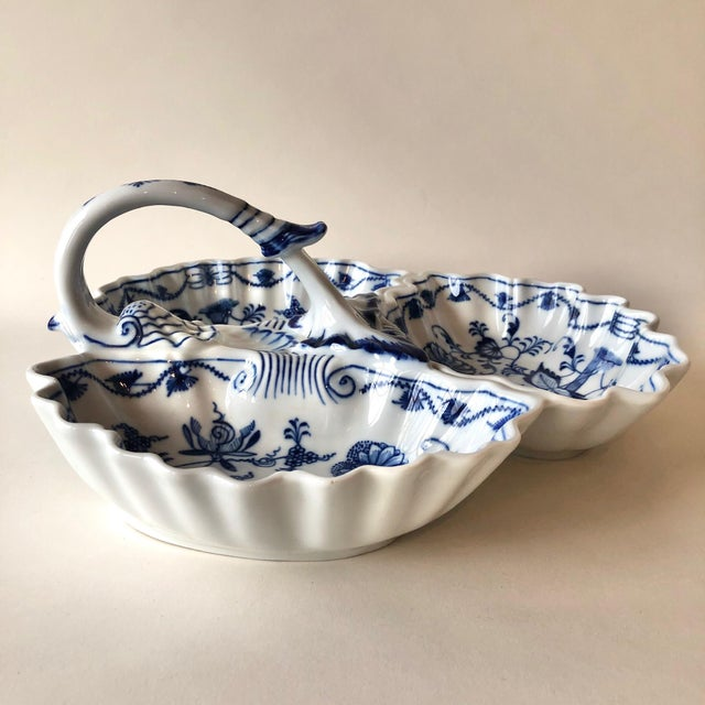 Unique and versatile serving tray or dish with three separate sections for ease of use. Antique handpainted porcelain is a...