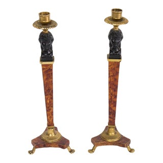 Walnut and Bronze Biedermeier Style Candlesticks - a Pair For Sale