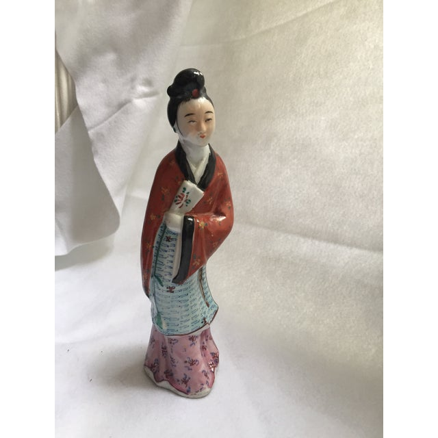 Antique Chinese Famille Rose Woman Holding Fan Figurine - Image 2 of 7