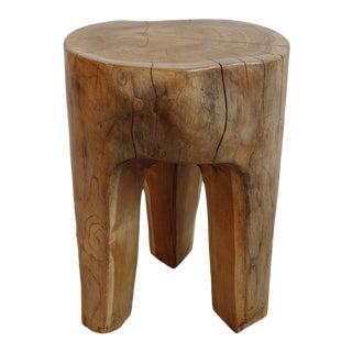 Organic Teak Root 3 Leg Stool For Sale