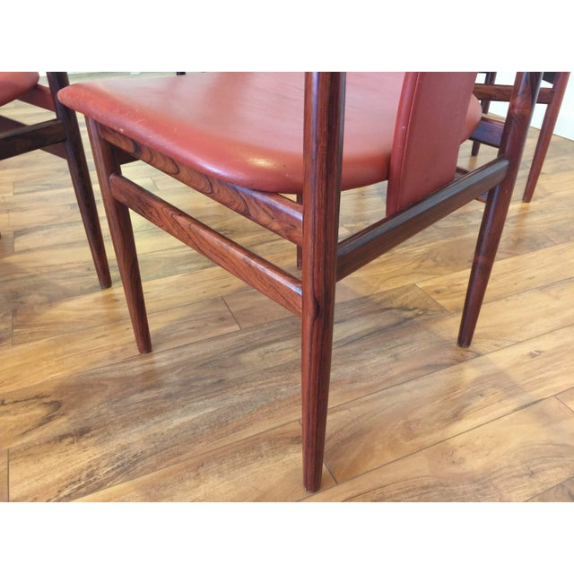 Henning Sorensen Rosewood & Leather Dining Chairs - Set of 4 - Image 9 of 11
