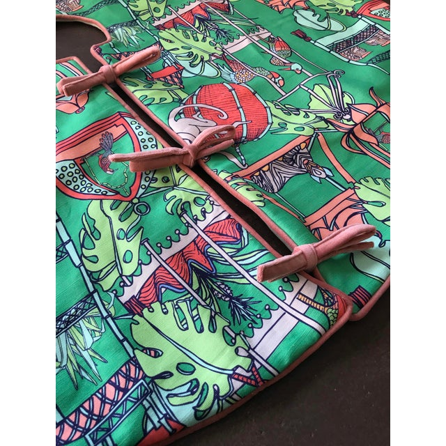 Contemporary Pink and Green Tropical Patterned Christmas Tree Skirt For Sale - Image 3 of 4