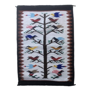 Vintage Birds in Trees Hand-Woven Wool Wall Hanging For Sale