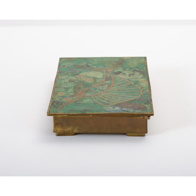 Mid 20th Century Mexican Brass Box With Resin Inlay Fish For Sale - Image 5 of 12