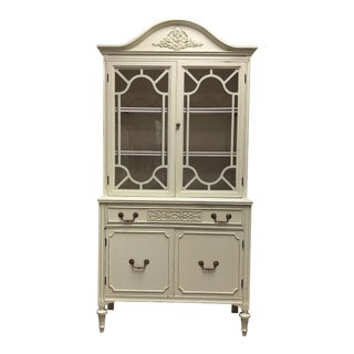 1930s Shabby Chic Lighted China Cabinet For Sale