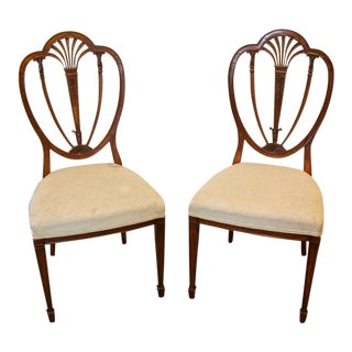 1900s Vintage English Shield Back Chairs- A Pair For Sale
