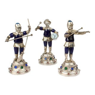 19th Century Jeweled & Enameled German Coin Silver Musician Figurines - Set of 3 For Sale